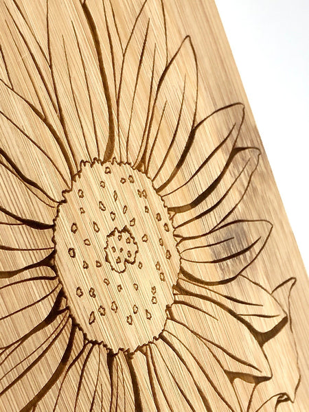 Sunflower Art Cutting Board - Bamboo Wine and Cheese Tray Engraved