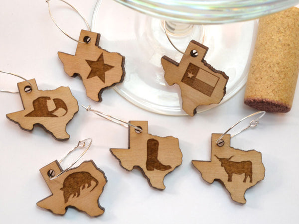 Texas Wine Charms - Wood - Cowboy Hat, Star, Texas Flag, Armadillo, Longhorn, Boot