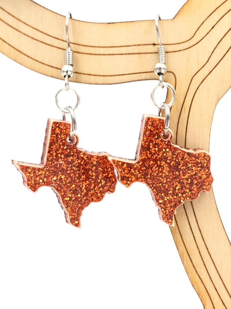 Acrylic Earrings - Metallic Orange Sparkle Texas