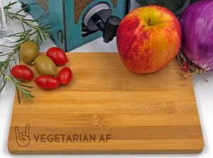 Vegetarian AF Rock Horns Fingers Cheese Tray / Cutting Board Bamboo