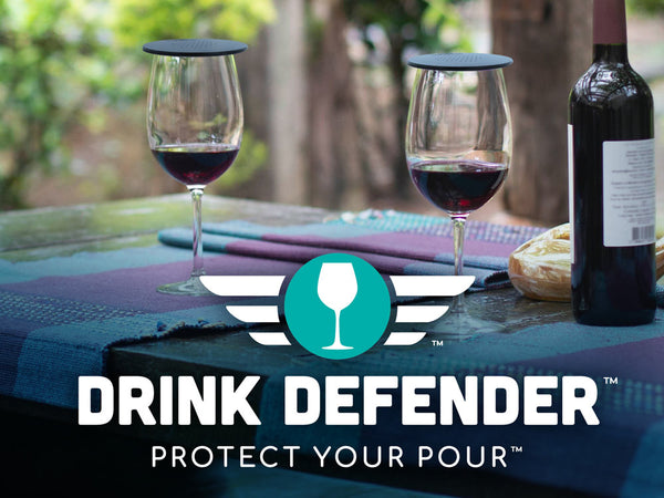 Patio Table Glasses with Logo DRINK DEFENDER (TM) - Wine, Beer, Cocktail, and Beverage Cover