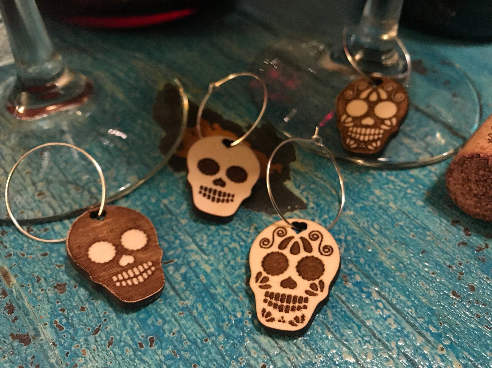 Sugar Skull Wine Charms (Set as shown)