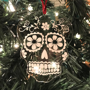 Sugar Skull Ornament - Etched