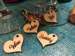 Heart Wine Charms - Wood (Set as shown)