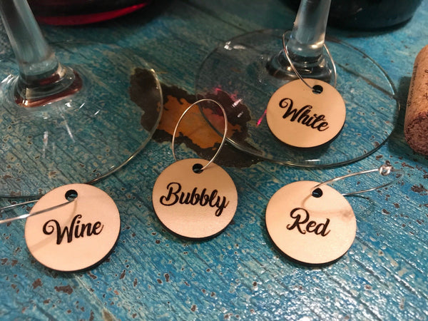 Circle Wine Charms - Wood (Set as shown)