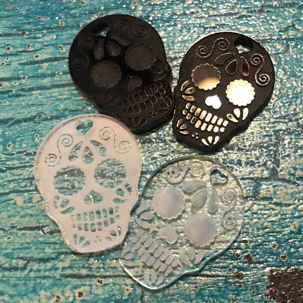 Sugar Skull Wine Charms - Acrylic (Set as shown)