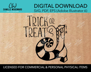 Trick Or Treat - Witch Boot, SVG - INSTANT Digital Download