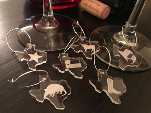 Texas Wine Charms - Acrylic (Set as shown)