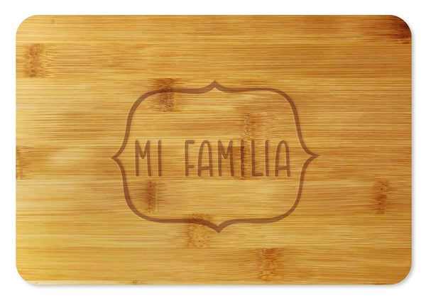 Bamboo Cutting Board / Wine and Cheese Tray - Mi Familia
