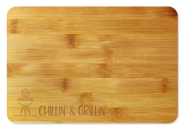 Bamboo Cutting Board / Wine and Cheese Tray - Chillin' & Grillin'