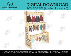 Earring Display Organizer, 3-Tier Stand - INSTANT Digital Download