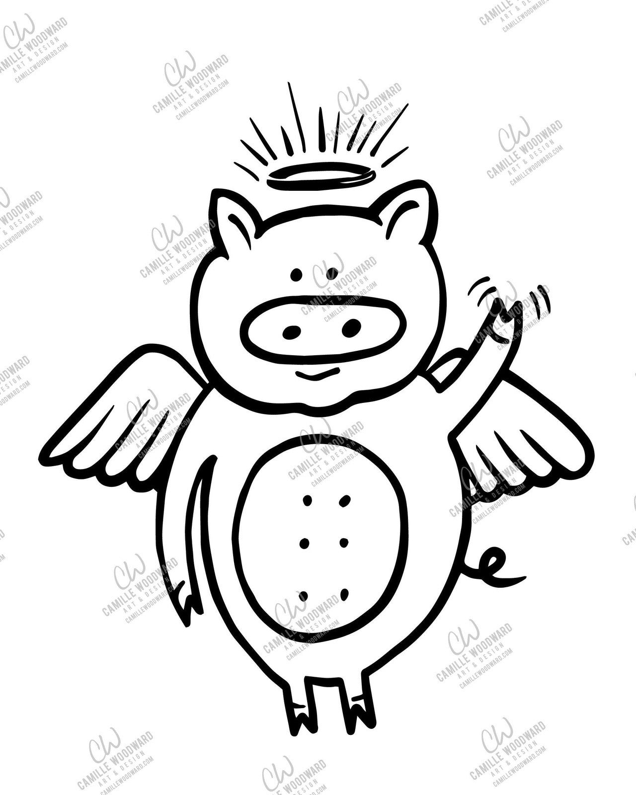 Divine Swine, Waving Pig with Wings and Halo - SVG Digital Download
