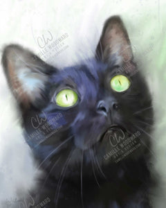 Black Cat With Green Eyes, Digital Painting - Digital Download