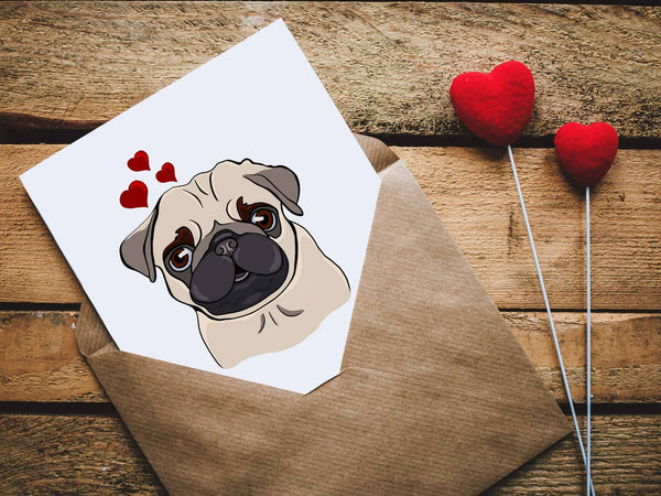Pug Love Hearts, PNG  - Sublimation Digital Download