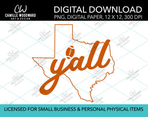 Texas Y'all Football, Burnt Orange, PNG - Sublimation Digital Download