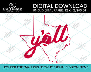 Texas Y'all Football A, Bright Red, PNG - Sublimation Digital Download