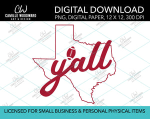 Texas Y'all Football, Battle Red, PNG - Sublimation Digital Download