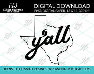 Texas Y'all Football, Black, PNG - Sublimation Digital Download