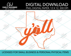 Texas Y'all Football A, Orange, PNG - Sublimation Digital Download