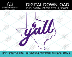 Texas Y'all Football, Purple, PNG - Sublimation Digital Download