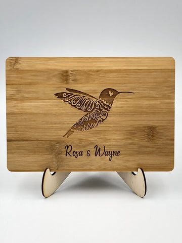 Bamboo Cutting Board / Wine and Cheese Tray - Hummingbird Personalized