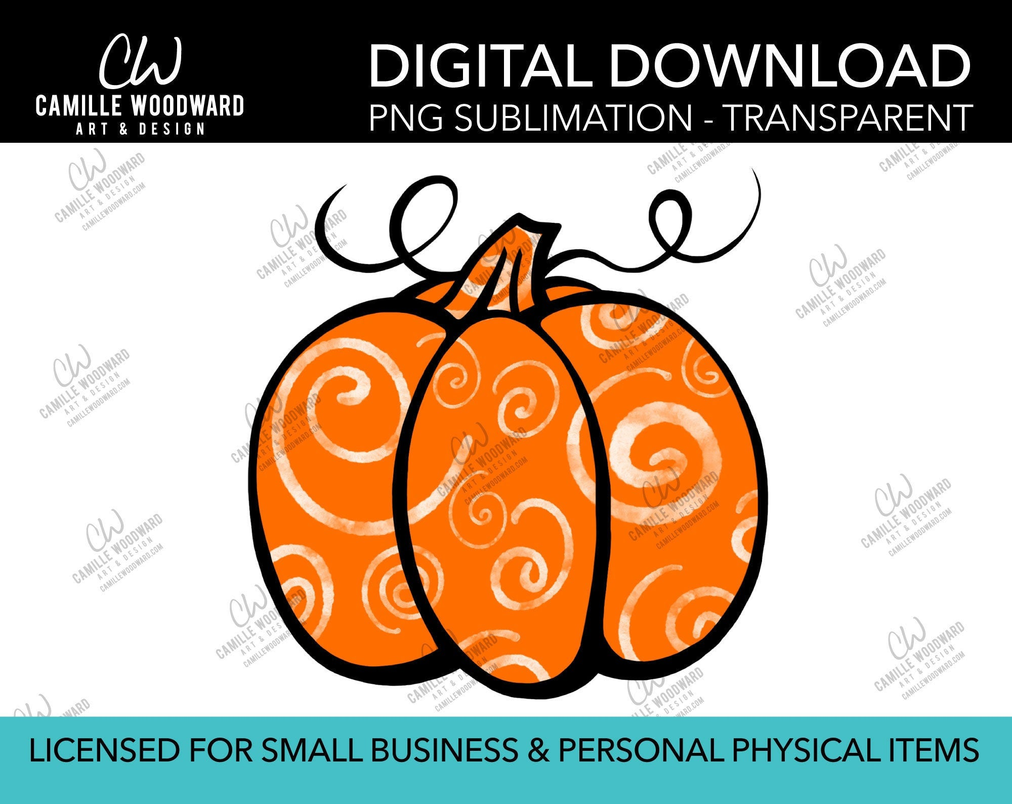 Pumpkin Orange and White Swirls, PNG - Sublimation  Digital Download