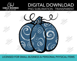 Pumpkin Blue Gray and Black Swirls, PNG - Sublimation  Digital Download