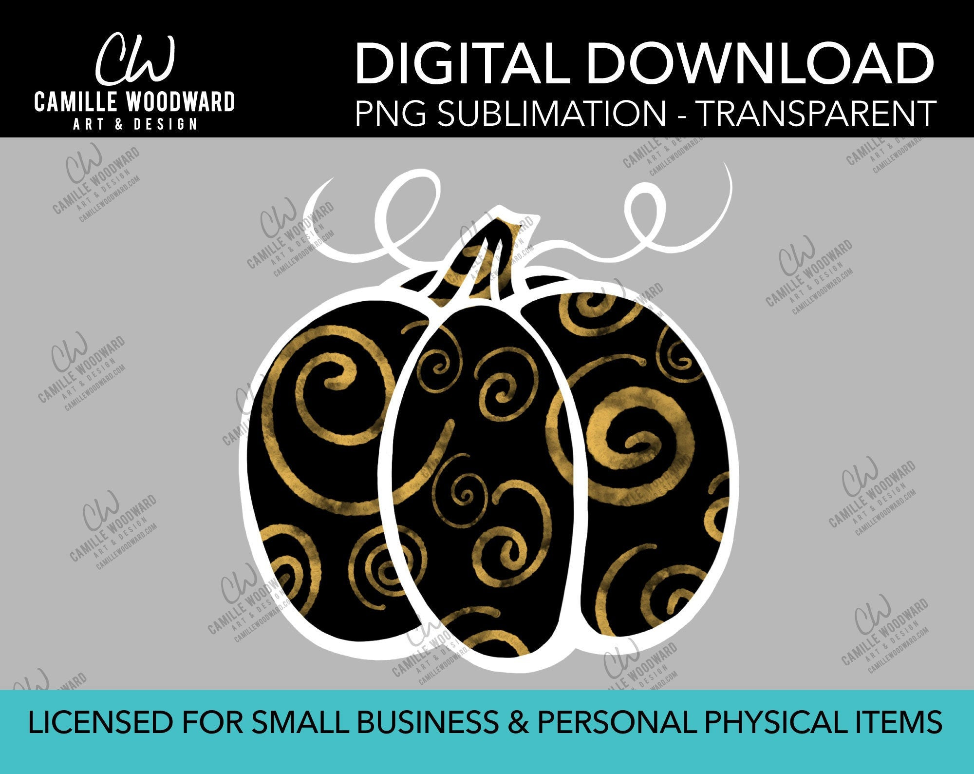 Pumpkin Gold and Black Swirls, PNG - Sublimation  Digital Download