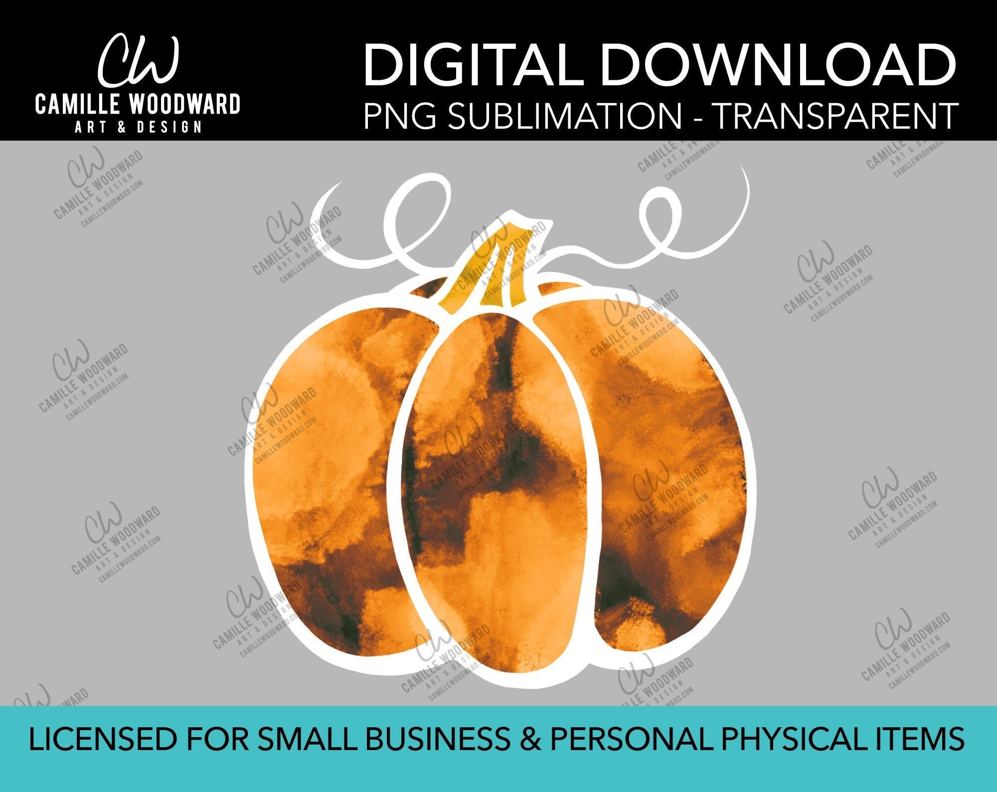 Pumpkin Orange Rust Watercolor Style Drawing, PNG - Sublimation  Digital Download