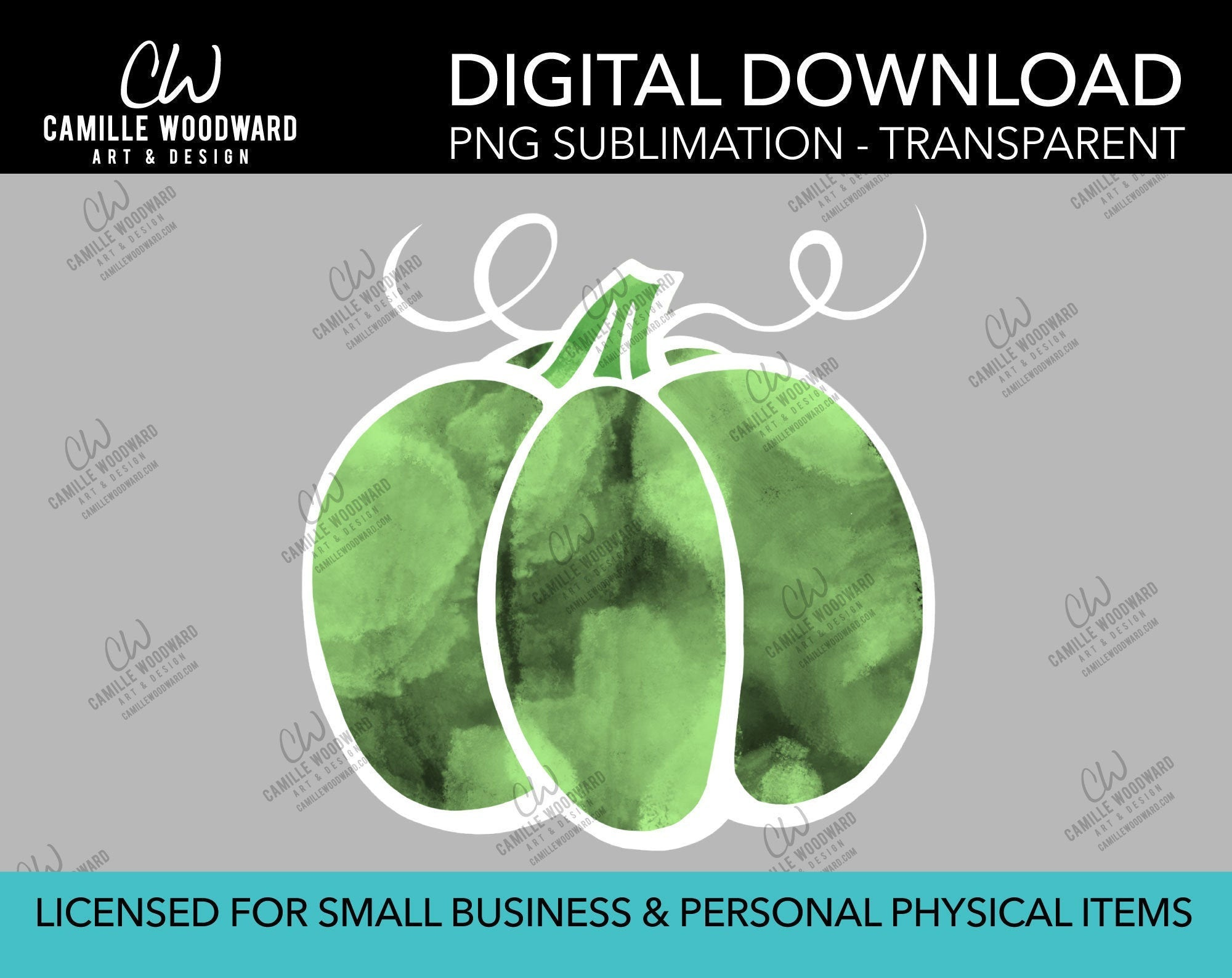 Pumpkin Green White Watercolor Style Drawing, PNG - Sublimation  Digital Download