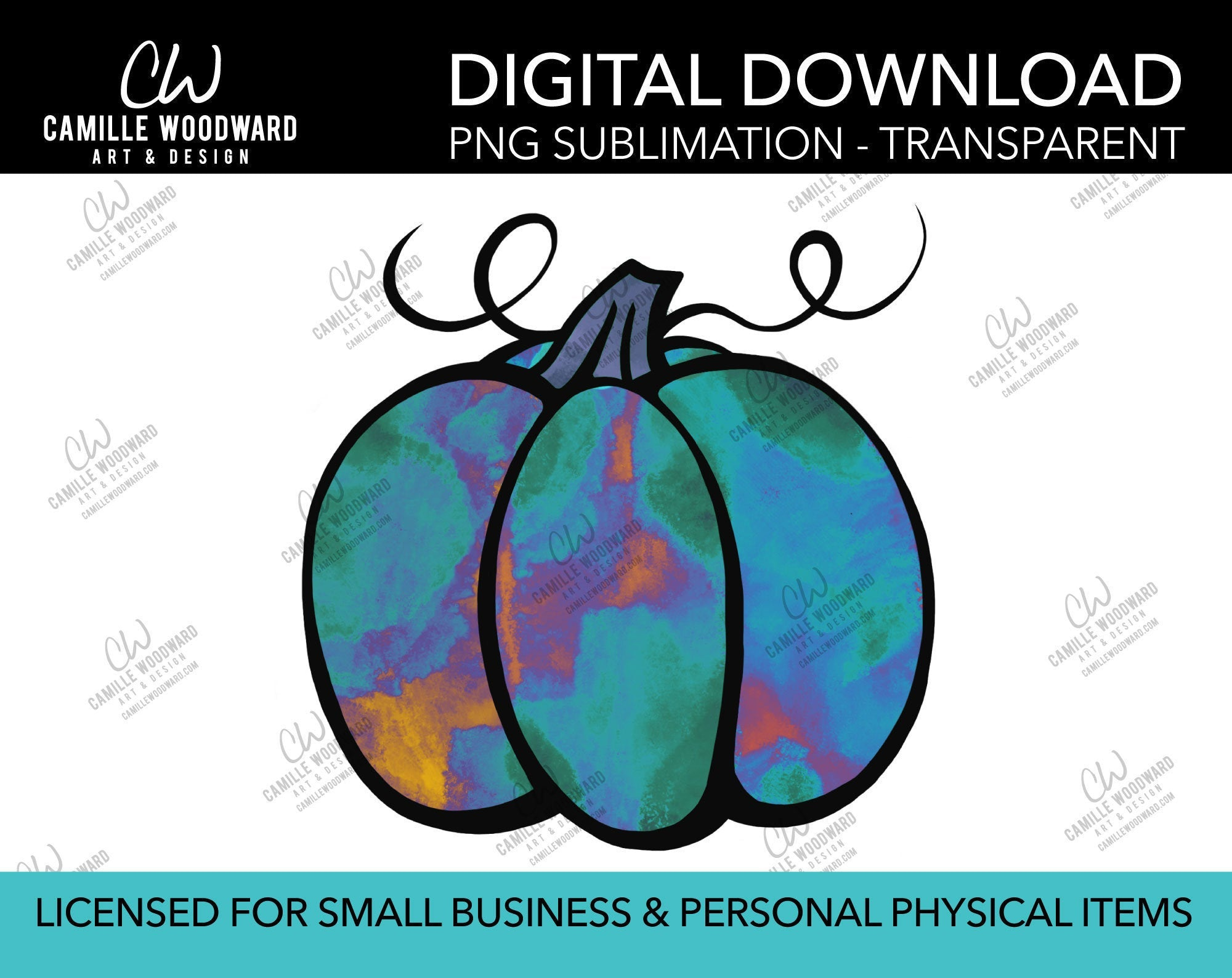 Pumpkin Turquoise Purple Watercolor Style Drawing, PNG - Sublimation  Digital Download