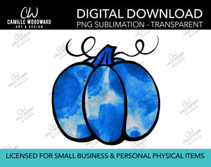 Pumpkin Blue Watercolor Style Drawing, PNG - Sublimation  Digital Download