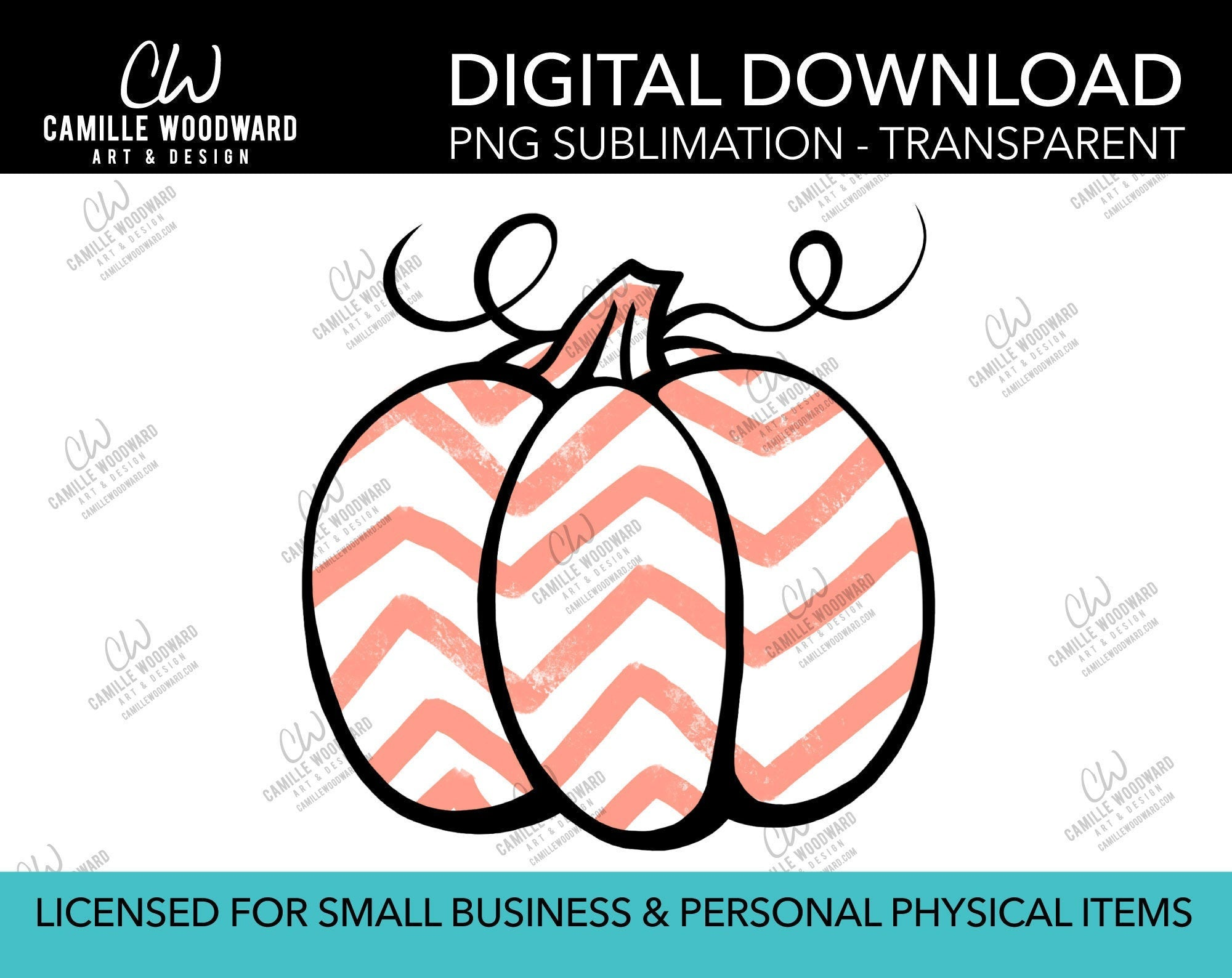 Pumpkin Peach Pink and White Chevron, PNG - Sublimation  Digital Download