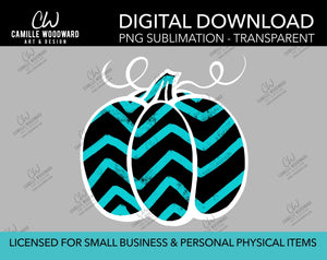 Pumpkin Turquoise and Black Chevron, PNG - Sublimation  Digital Download