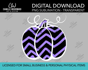 Pumpkin Purple and Black Chevron, PNG - Sublimation  Digital Download