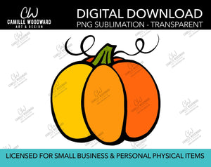 Pumpkin Drawing, PNG - Sublimation  Digital Download