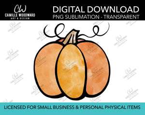 Watercolor Harvest Pumpkin Drawing, PNG - Sublimation  Digital Download