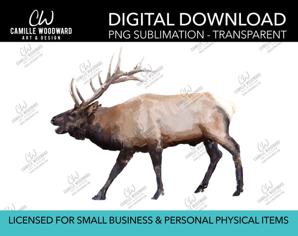 Elk Art Bugling  - PNG Sublimation Digital Download