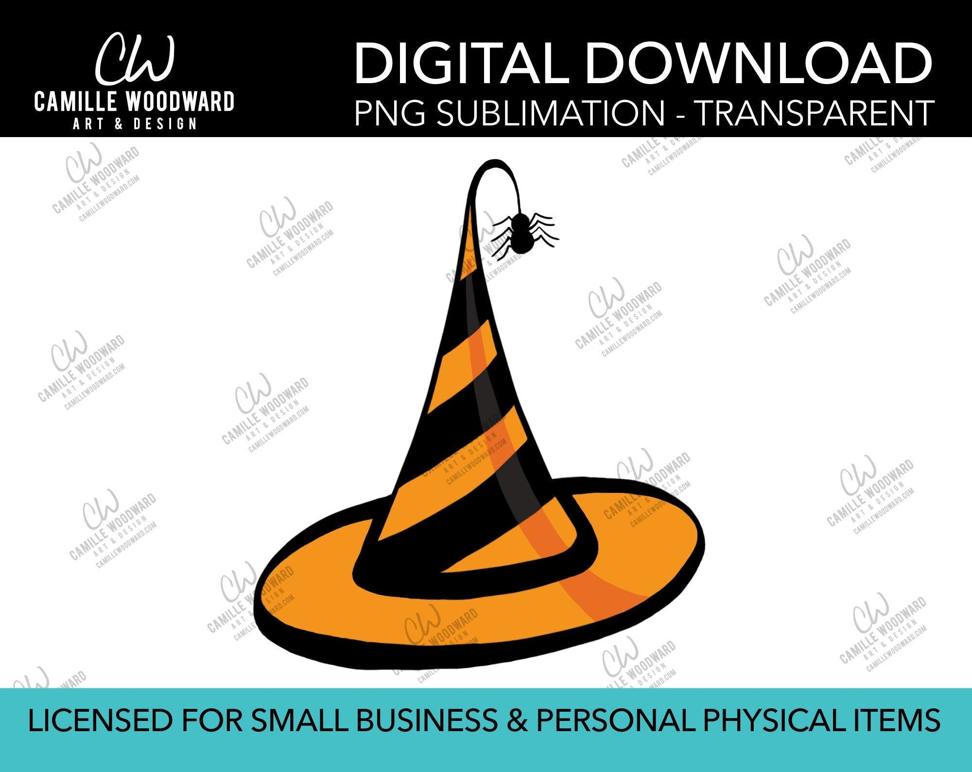Witch Hat Orange Stripe, PNG - Sublimation Digital Download