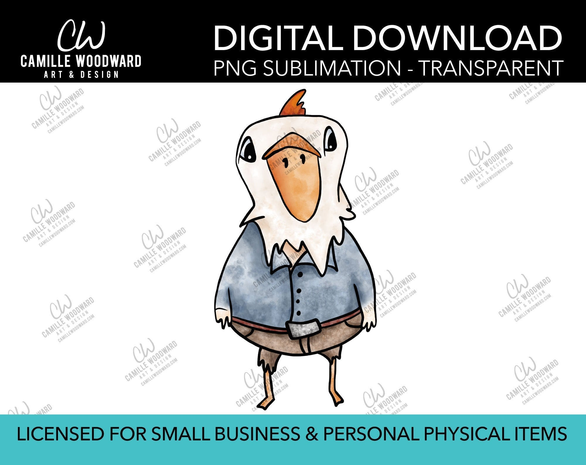 Country Chicken Illustration, PNG - Sublimation Digital Download