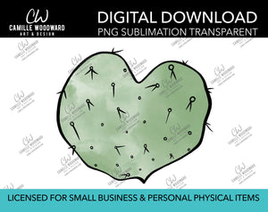 Cactus Heart, PNG - Sublimation Digital Download