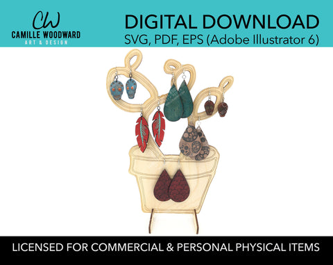 Earring and Jewelry Display Stand, Prickly Pear Cactus Compact - INSTANT Digital Download