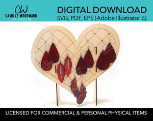 Earring Display Stand, Whimsical Heart - INSTANT Digital Download