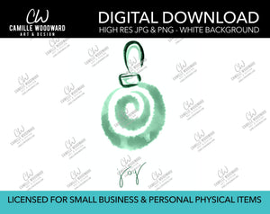 Christmas Ornament Swirl Watercolor Drawing Joy Text Green - PNG JPG Digital Download