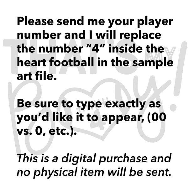 Football Player - That's My Boy, Square Black and White Heart, EPS, PNG, SVG - Transparent Digital Download