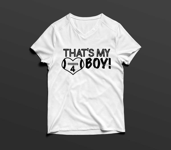 Football Player - That's My Boy, Landscape Black and White Heart, EPS, PNG, SVG - Transparent Digital Download