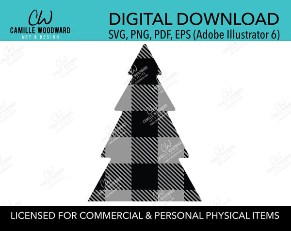 Buffalo Plaid Christmas Tree Gray Black, SVG, EPS, PNG - Sublimation Digital Download Transparent