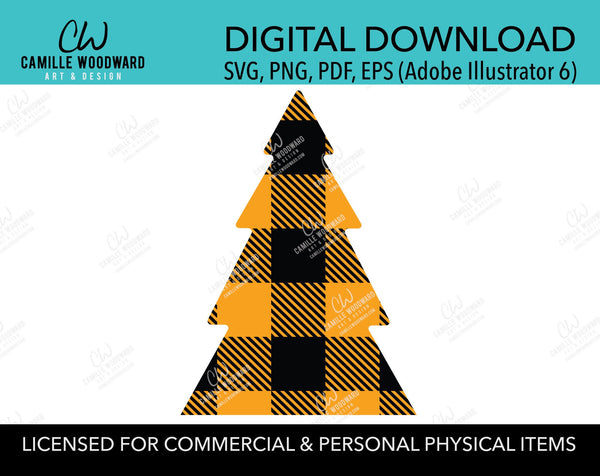 Buffalo Plaid Christmas Tree Orange Black, SVG, EPS, PNG - Sublimation Digital Download Transparent