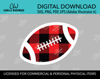 Buffalo Plaid Football Red Black White Outline, SVG, EPS, PNG - Sublimation Digital Download Transparent
