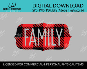 Buffalo Plaid Family Red Black No Outline, SVG, EPS, PNG - Sublimation Digital Download Transparent